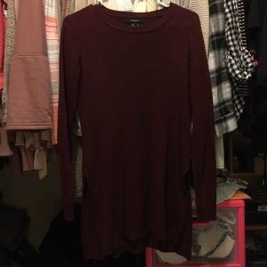 Size small maroon sweater with slits on sides